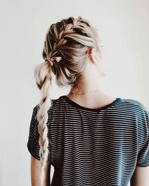 french braid into braided ponytail