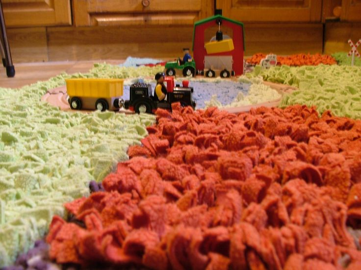 Natural Fiber Rugs Holly us Farm Yard Textured play rug with wooden train track and accessories