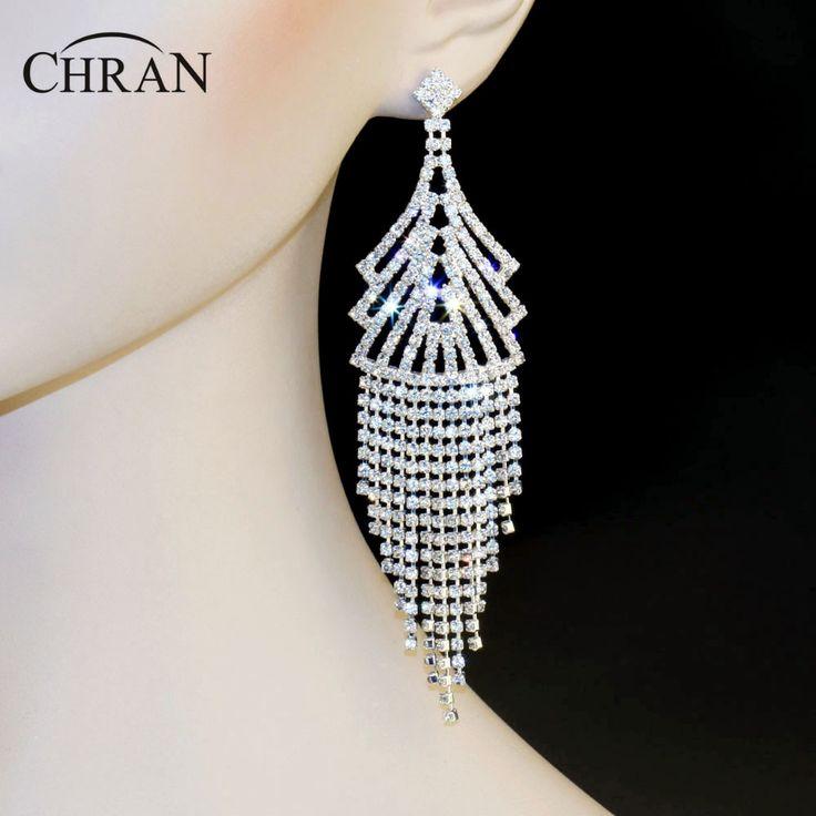 "Chran New Luxury Bridal Rhinestone Crystal Earings Wedding Party Dangle 4.6"" Chandelier Gold Color Drop Earrings Jewelry LE817 #Affiliate"
