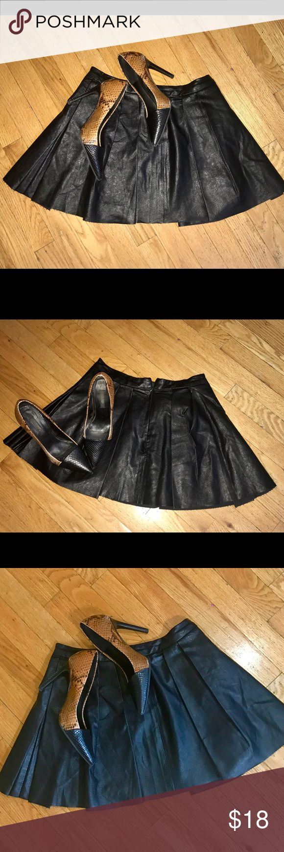 Armani Exchange pleated mini skirt, worn once! AX Leatherette pleated mini skirt with a zip back, worn once, no flaws, very flattering! Skirts Mini