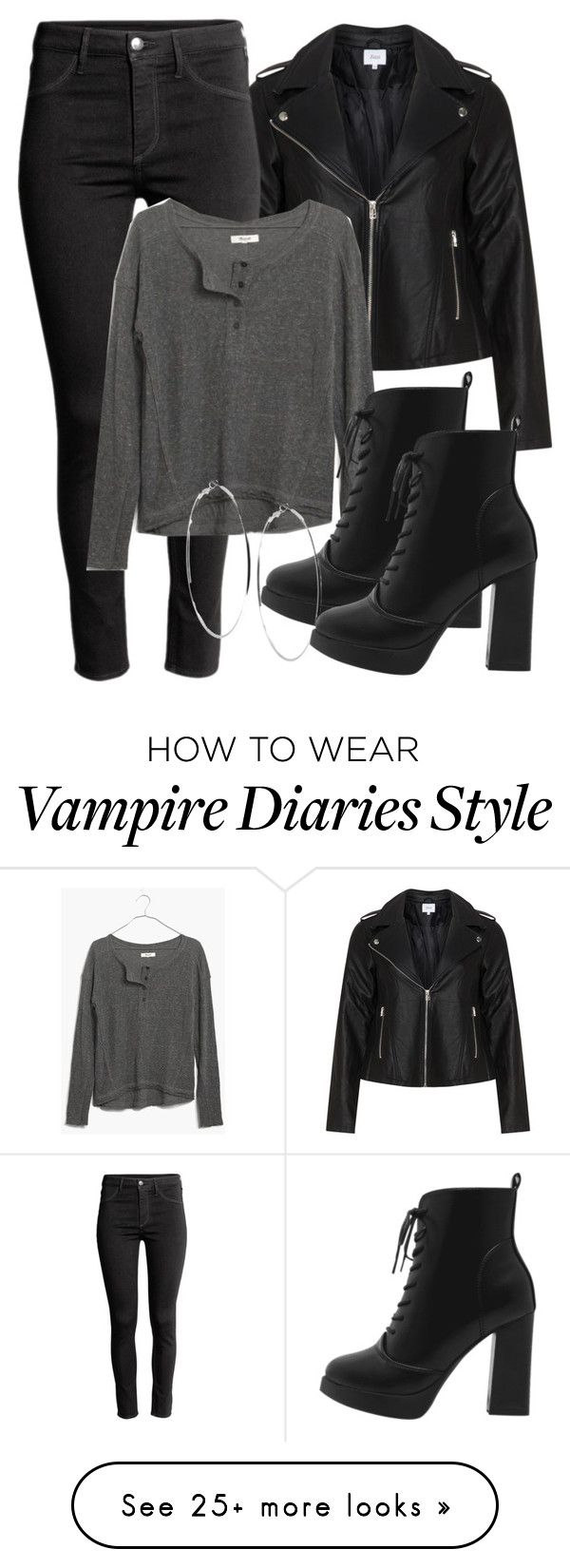 """""""Damon Inspired Outfit - The Vampire Diaries / The Originals"""" by fangsandfashion on Polyvore featuring Zizzi, H&M, Madewell and GUESS"""