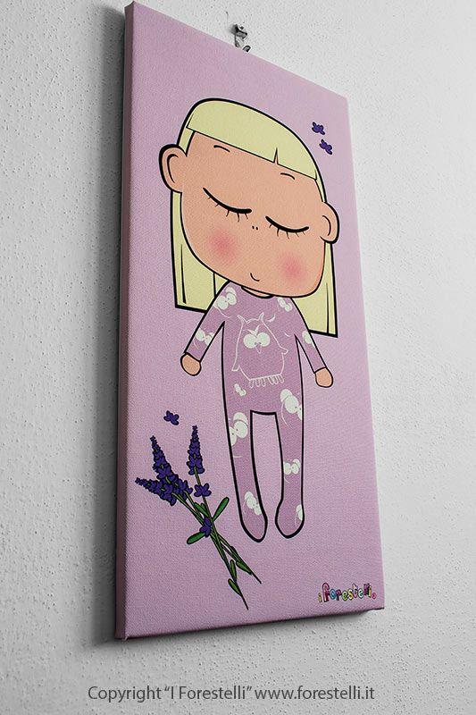 """La """"Ninna"""" una piccola bambina bionda che dorme beatamente. #quadriperbambini #camerette #forestelli"""