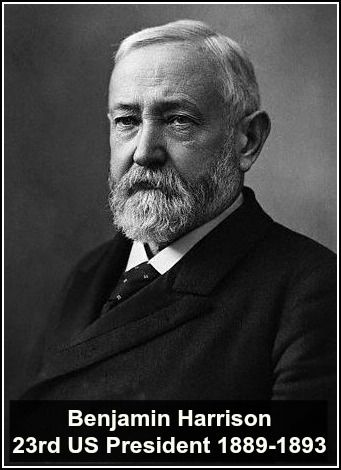 Benjamin Harrison was an American politician and lawyer who served as the 23rd President of the United States from 1889 to 1893; he was the grandson of the ninth president, William Henry Harrison, creating the only grandfather-grandson duo to hold the office.