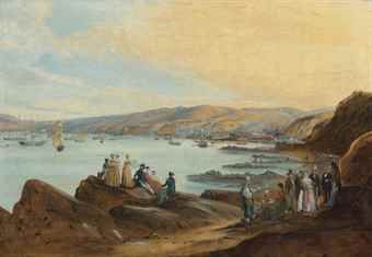 Johann Moritz Rugendas (1802-1858) The beach of El Membrillo, Valparaíso traces of a signature and date (lower right), titled 'The Seashore near Valparaiso' on the frame oil on canvas 25 x 36in. (63.5 x 91.4cm.)