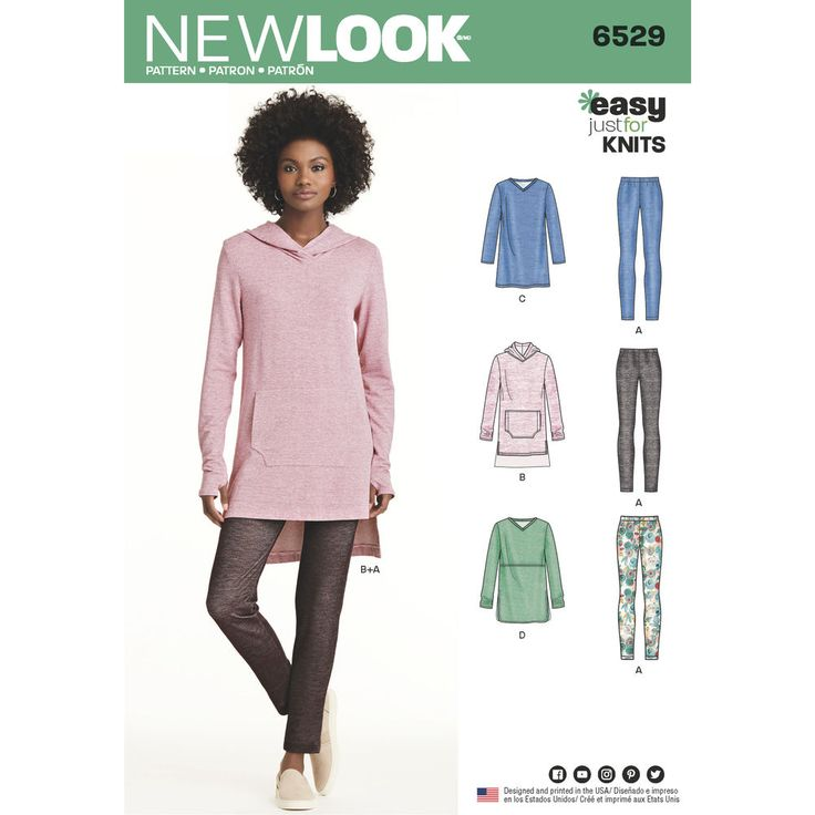Create a cozy yet casual look with this easy just-for-knits pattern for Misses. Pattern includes tunic with length variations and optional hood or kangaroo pocket, plus leggings. New Look sewing pattern.