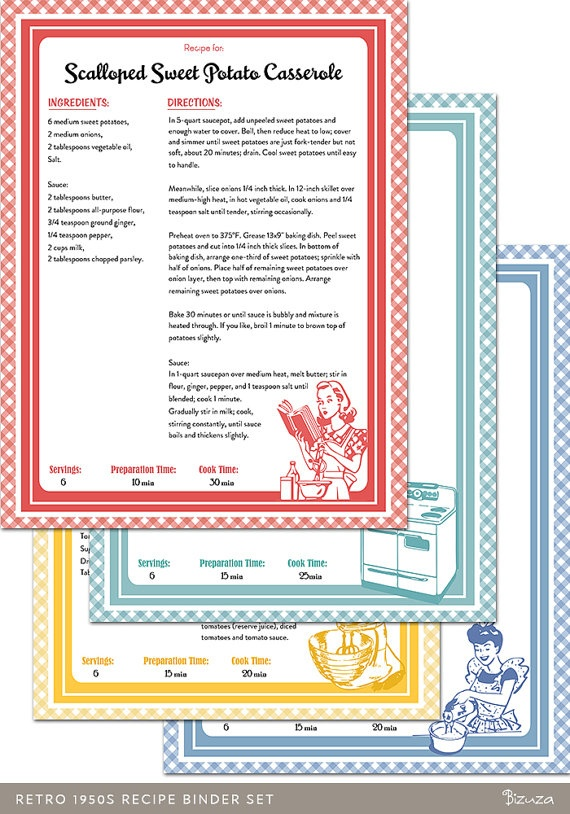 Printable & Editable Recipe Binder Pages in 1950s Retro Style