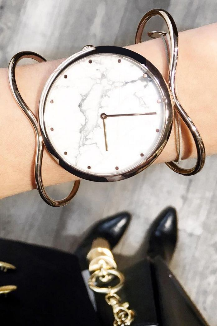 Marble and rose gold. Need we say more? Make a statement with this bold rose gold bangle watch from our Fossil x Opening Ceremony collection. Via @ketchembunnies