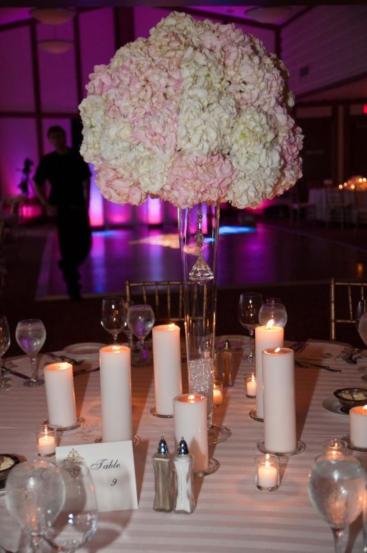 gorgeous tall white and blush pink (bridal pink) hydrangea centerpiece | large centerpiece