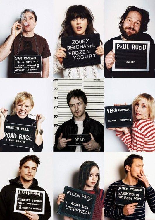 Sam Rockwell, Zooey Deschanel, Paul Rudd, Kristen Bell, Vera Farmiga, Josh Hartnett, Ellen Page, James Franco, Mcavoy