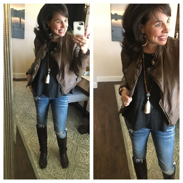 My new series on the blog is called Joanna Gaines Told Me To!  Here's Look #1:  grey tee, skinny jeans, leather jacket, and frye boots!