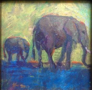 Elephants painting by Alexandra Kruglyak
