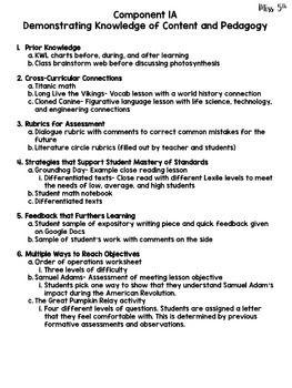 Sample Evidence for Charlotte Danielson Framework (Summati