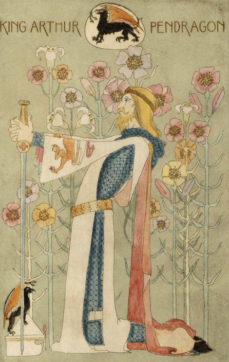 The Poems of Alfred Lord Tennyson, front cover 'King Arthur, Pendragon' illustration by Dorothy Carleton Smyth, 1899