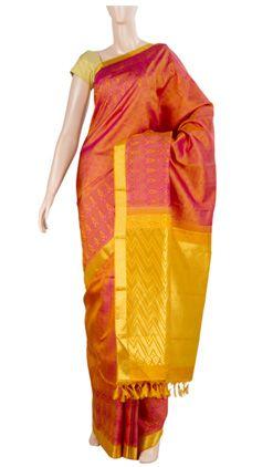 Pure kanchi silk saree with half fine zari
