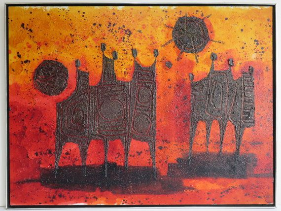 Signed Luzon, Mid-Century Modern Abstract Painting.