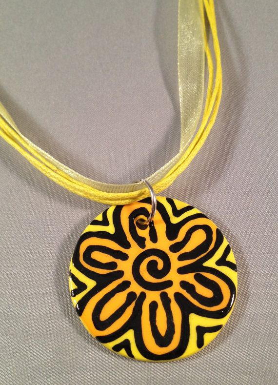 Hand Painted Pendant with Organza Ribbon by chutneyblakedesigns, $12.95