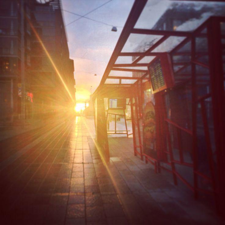 Aurinkohan se siinä tervehtii työmatkalaisia. Helsinki, tammikuu 2014.