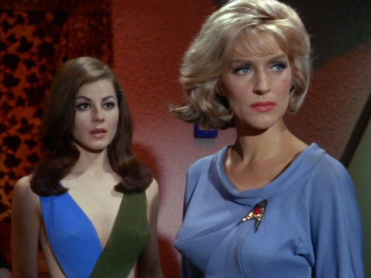 Majel Barrett and Sherry Jackson in Star Trek (1966)
