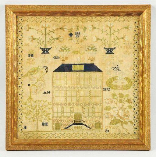 Lot: 857: Needlework Sampler., Lot Number: 0857, Starting Bid: $150, Auctioneer: Dan Morphy Auctions, Auction: MORPHY AUCTIONS Sat. Nov. 3rd. 2012 Auction, Date: November 3rd, 2012 EDT