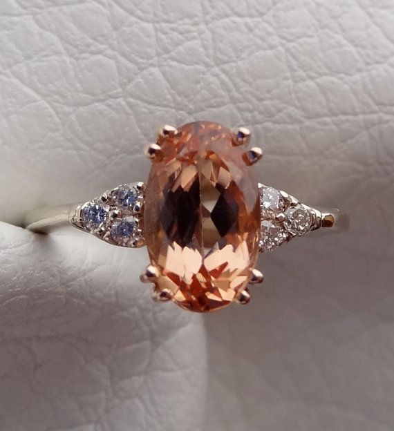 Peachy Color Imperial Topaz & Diamonds by DeAguiarDesigns on Etsy