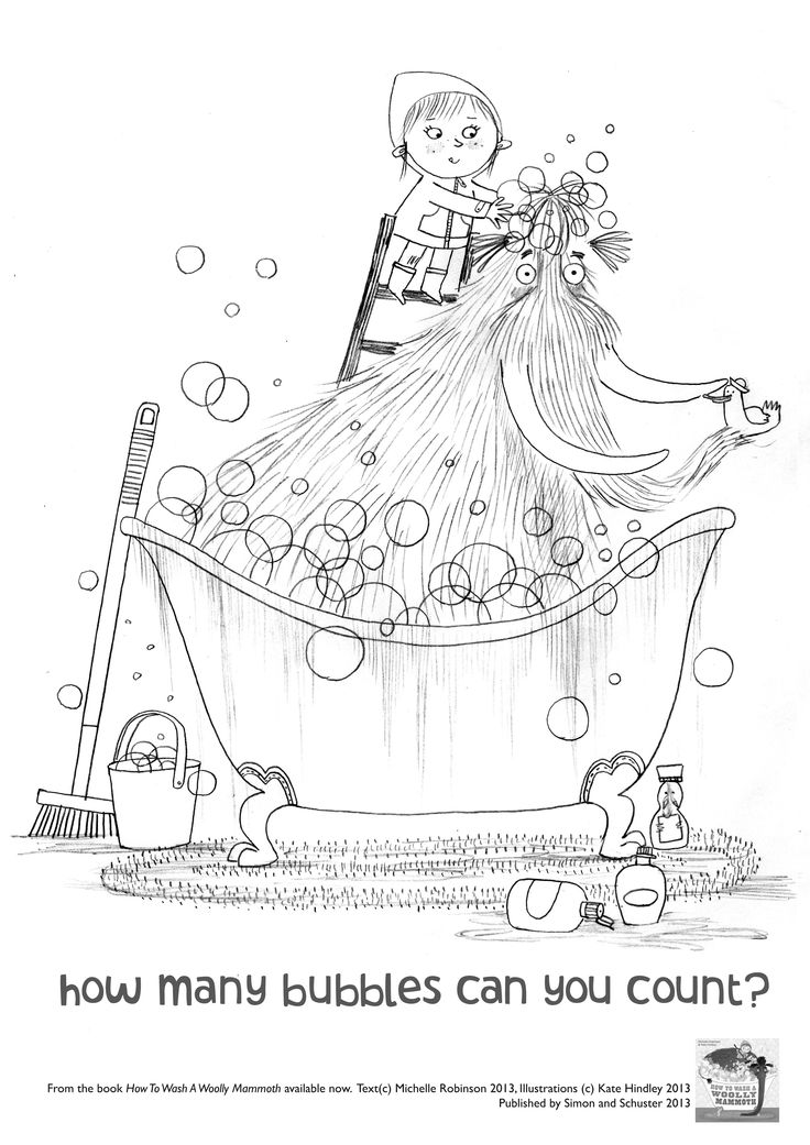 Bubble trouble! From the book HOW TO WASH A WOOLLY MAMMOTH by me and Kate Hindley.