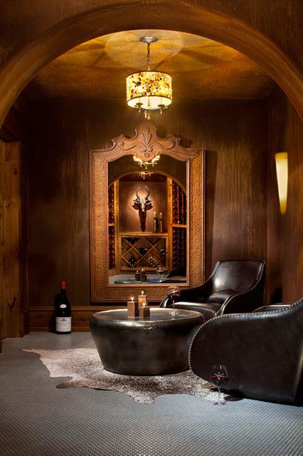leather and wood wine cellar
