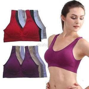 Ladies Gym Sports Bra Vest Tank Cropped Tops Womens Yoga Underwear Padded Bras