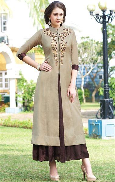 Dazzling Brown Designer Ready Made Salwar Kameez