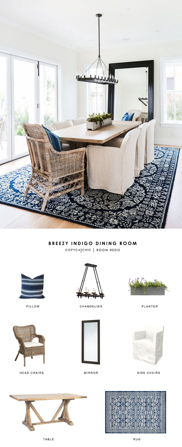 A breezy indigo dining room by Blackband Design gets recreated for less by copycatchic luxe living for less budget home decor and design