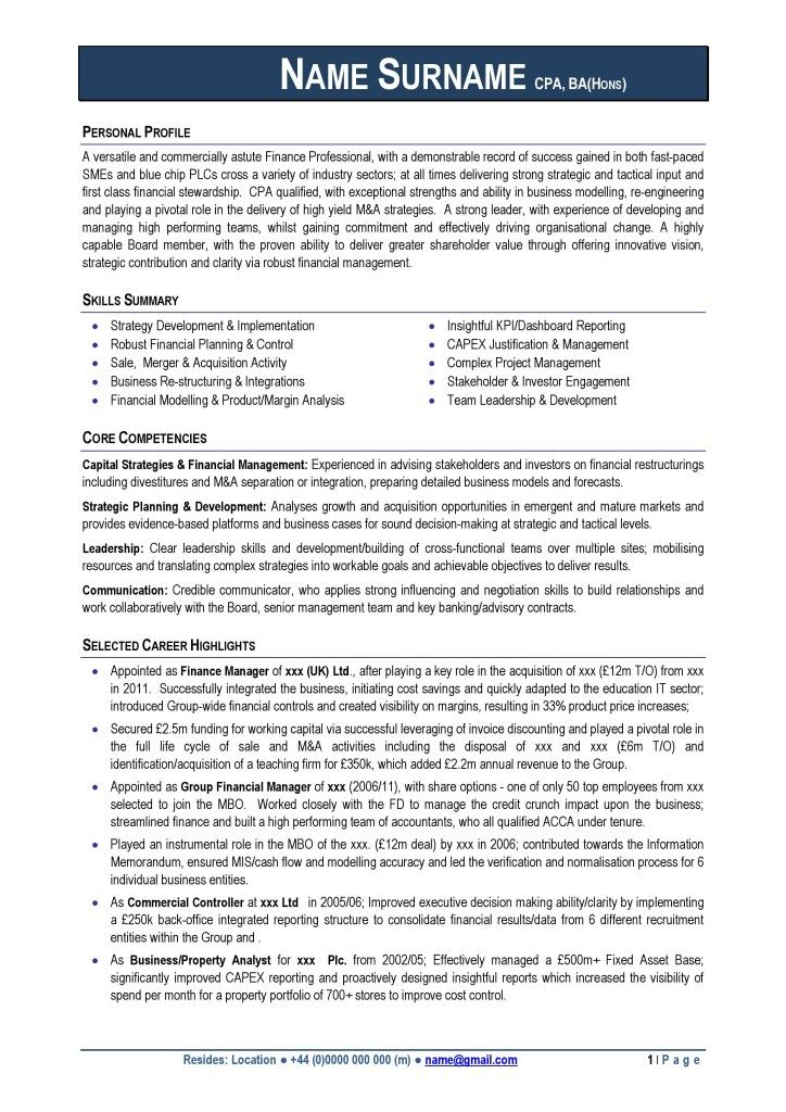 Professional CV Download Examples