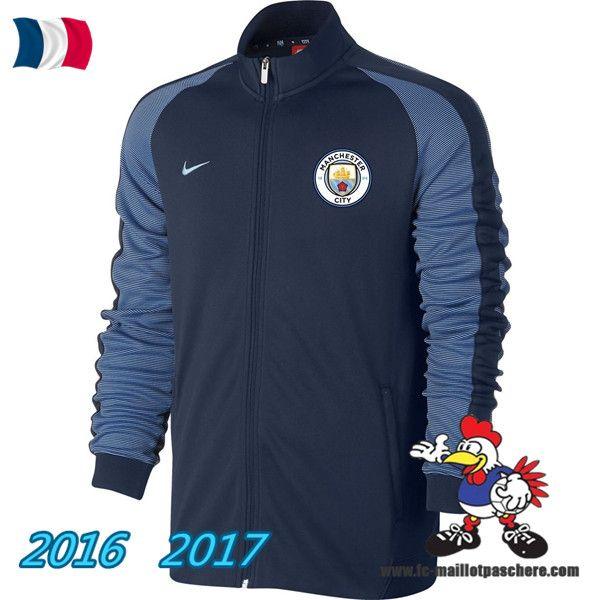 Les Nouveaux Veste Foot Manchester City Bleu Marine 2016/2017 Pas Cher