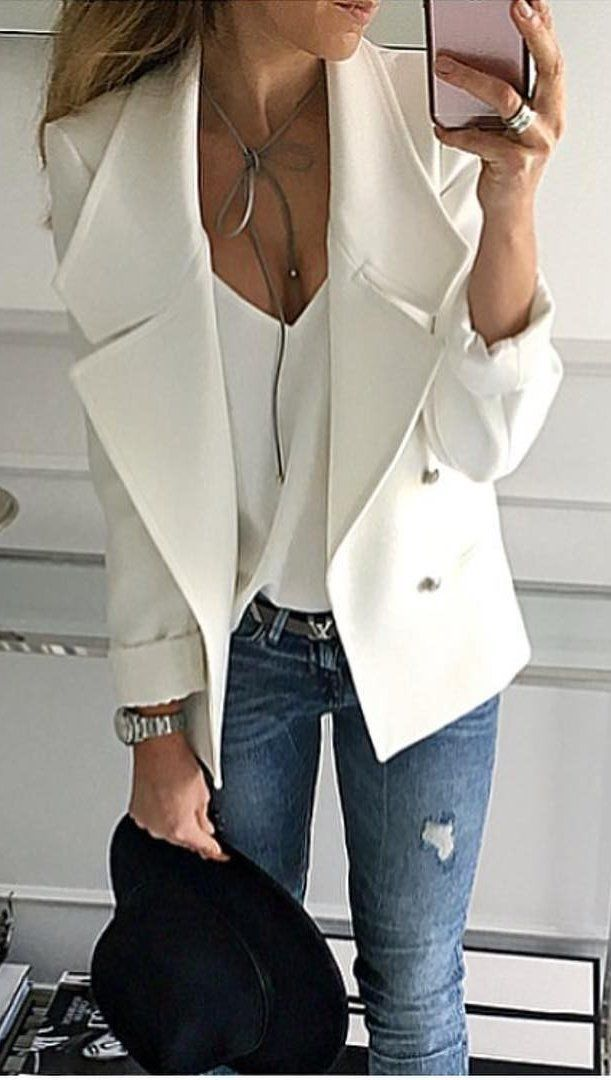 #thanksgiving #fashion ·  White Blazer // White V-neck Top // Ripped Jeans // Black Hat