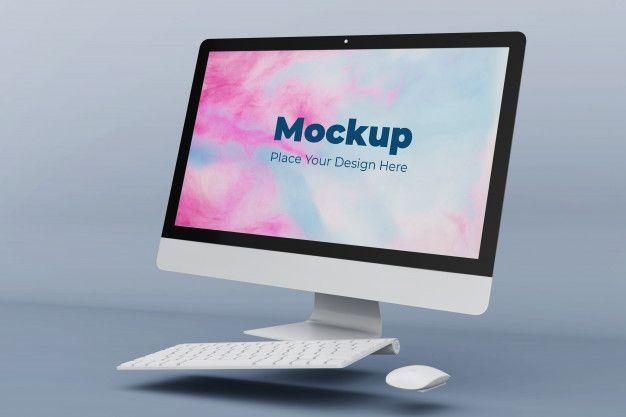 Floating Desktop Screen Mockup Design Template In 2021 Mockup Design Design Template Mockup