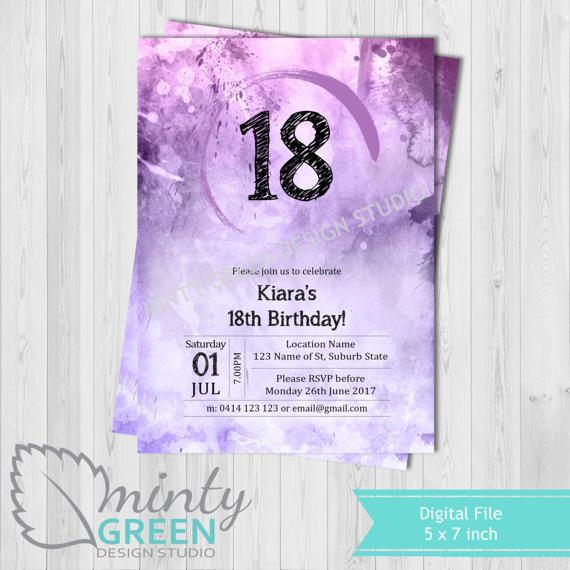 Hey, I found this really awesome Etsy listing at https://www.etsy.com/au/listing/505193256/birthday-invitation-purple-watercolour