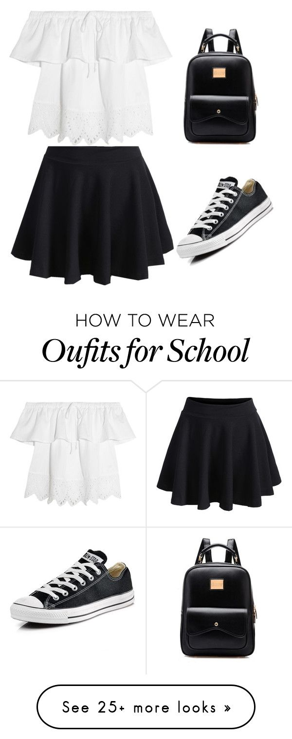 """""""Black 2 School"""" by tiffyconbolt on Polyvore featuring WithChic, Madewell and Converse"""