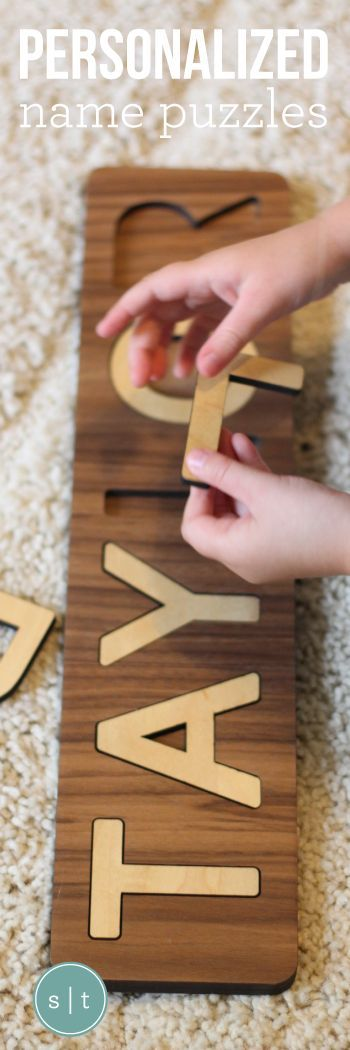 Handmade children's wooden name puzzle   a unique personalized gift for new baby, birthday, or Christmas   custom made in the USA