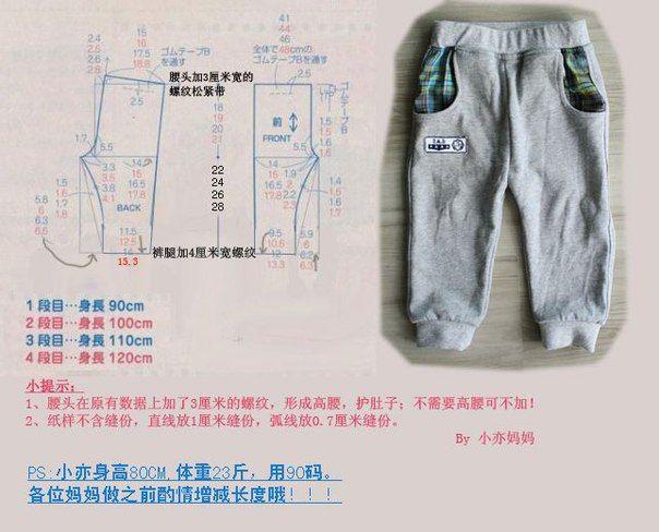 Детские трикотажные тренировочные штаны. Размеры 90-100-110-120