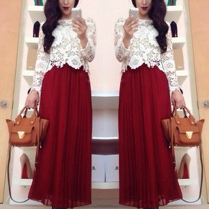 Instagram photo by modestlyhot - Maroon,Lace & Pleated Maxi Skirts