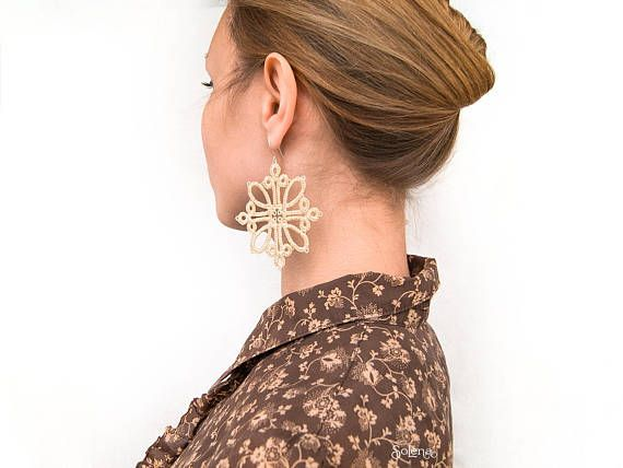 Lace-up Ivory earrings Celin  Great festive earring #Earrings  #Dangle  #Lace-up  #Ivory #earrings  #Great #festive  #massive #Jewelry  #wedding #tatting #style #frivolite #geometrical #patterns  #noble  #Spectacular  #perfect #relevant