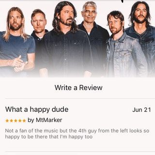 Found in the reviews of the new Foo Fighters album. Made me happy. : wholesomememes