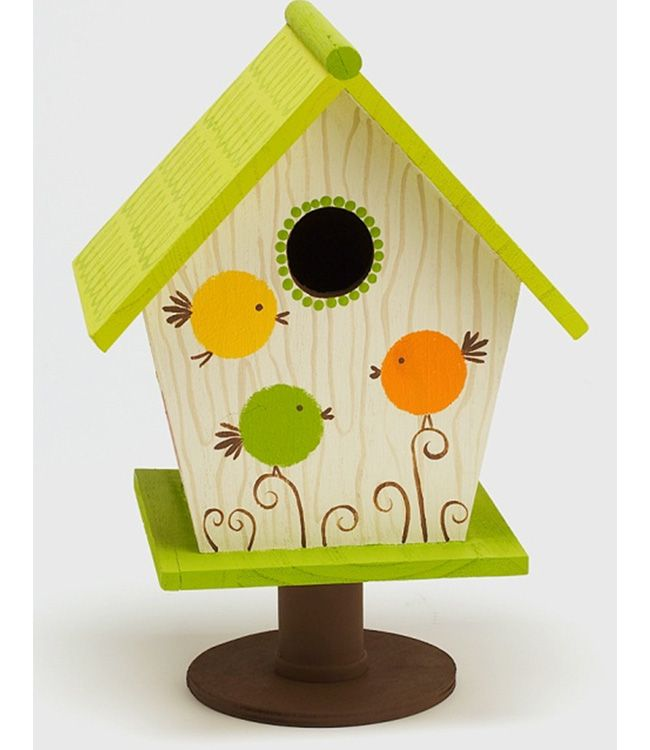 Roly Poly Birdhouse {Plaid} #paint #craft - I made mine in different colors, added some design to the roof but did the fat birds :) I like it!