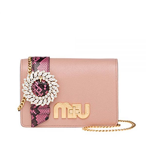 1b04207cc936 Miu Miu Women Madras and Ayers Leather My Miu Bag-Pink | www.Brands ...