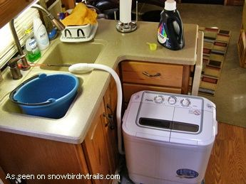 The Panda portable washing machine is perfect for an RV. See how we set ours up at http://www.snowbirdrvtrails.com/pandawasher.htm. Not suitable for sheets or towels - too heavy.