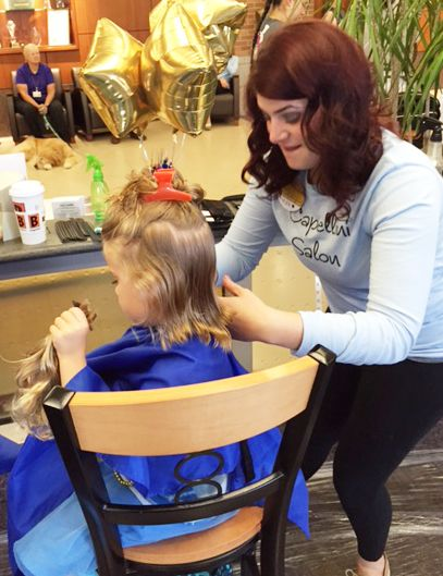 Generous local stylists from salons in Lansing, MI stepped up to cut hair for donation at Sparrow Hospital's annual cut-a-thon with Wigs 4 Kids