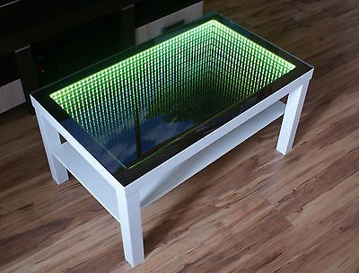WHITE Table LED 3D Coffee Table Illuminated INFINITY MIRROR Effect Remote RF!  https://www.leddancefloor.info