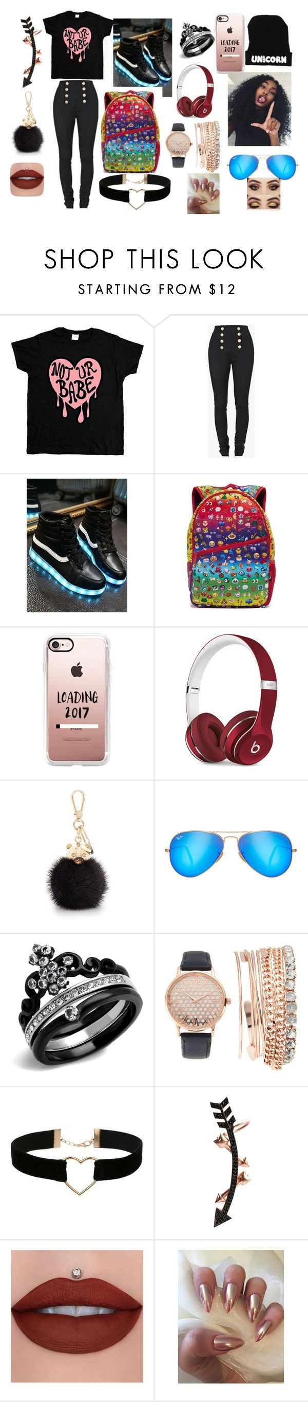 """How i feel"" by panther-bear ❤ liked on Polyvore featuring Balmain, Terez, Casetify, Beats by Dr. Dre, Furla, Ray-Ban, Jessica Carlyle, Miss Selfridge and Wild Hearts"