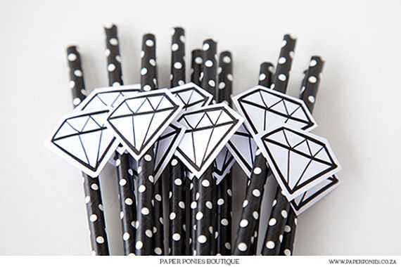 Black And White Hand Drawn Diamond Straw Tag Printable by PaperPoniesBoutique on Etsy. $4