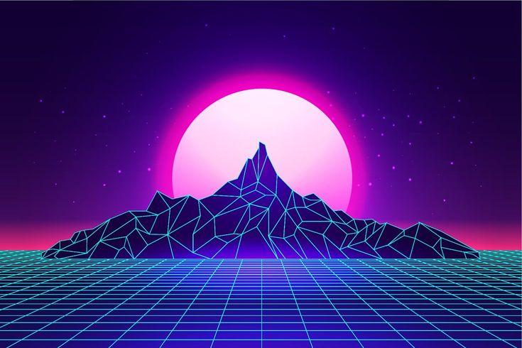 Vaporwave mountains landscape in 2020 | Futuristic background, Vaporwave, Sky aesthetic