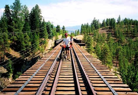 Bike riding on the historic kettle valley railway