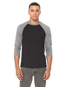 3200 Bella + Canvas Unisex 3/4-Sleeve Baseball T-Shirt